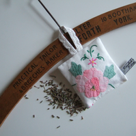 Yorkshire lavender bag, made from vintage applique and embroidered table linen