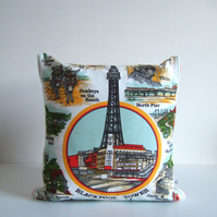 Cushion and pad with illustrations of Blackpool, made from a vintage tea towel