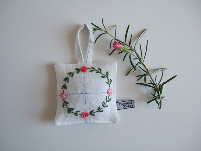 Yorkshire lavender bag with circular vintage embroidery of roses and leaves