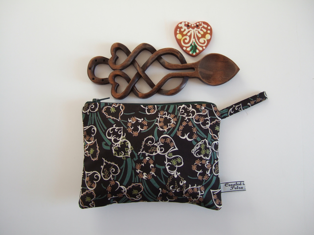 Liberty fabric with hearts. Make up bag or purse. Valentines gift.