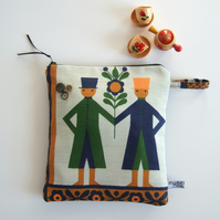 Pouch or large purse made from vintage Scandinavian tea towel.
