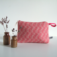 Pink tweed woollen makeup bag, purse, or toiletries bag.