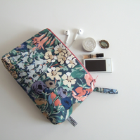 Make up, toiletries or storage bag in a vintage 1970's Liberty print fabric.