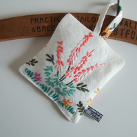 Vintage embroidery floral lavender bag with Yorkshire lavender. Larger size.