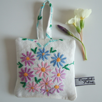 Vintage embroidered floral lavender bag with dried Yorkshire lavender.