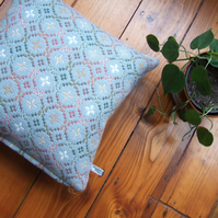 Cushion in vintage Welsh wool tapestry, with feather pad.