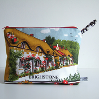 Isle of Wight vintage tea towel storage, make up, cosmetics or toiletries bag.