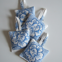 Blue floral lavender bag with vintage embroidery and dried Yorkshire lavender.
