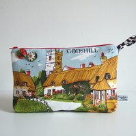 Make up or toiletries bag with vintage Godshill Isle of Wight print.