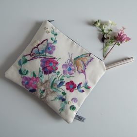 Vintage embroidery small clutch bag in a butterflies and flowers design