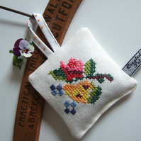 Lavender bag with folk art vintage embroidery and dried Yorkshire lavender.