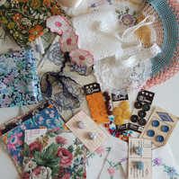 Pack of Summertime vintage fabrics and haberdashery sewing inspiration.