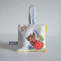 Cat lavender bag made from a childs vintage hanky with Yorkshire lavender.