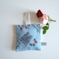 Lavender bag made in a vintage Notre Dame print, with dried Yorkshire lavender.