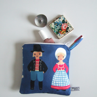 Make up bag or pouch in a Folk Art style, from a vintage Danish tablecloth.