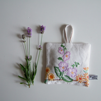 Large vintage embroidery floral lavender bag or pouch with Yorkshire lavender.