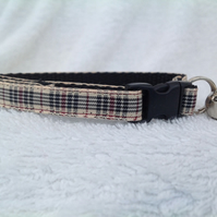 Handmade Blackberry Tartan Cat Collar