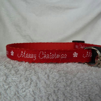 Handmade Red Merry Christmas Cat Collar