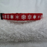Handmade Snowflakes Red Christmas Small Dog Collar - 10mm & 12mm Various Sizes