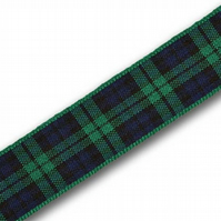 Handmade Scottish Black Watch Tartan Dog Lead - 25mm Wide x 1m Long