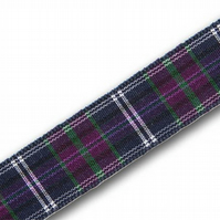 Handmade Scottish Bannockburn Purple Tartan Dog Lead - 25mm Wide x 1m Long