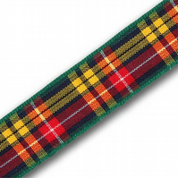 Handmade Scottish Buchanan Tartan Dog Lead - 25mm Wide x 1m Long