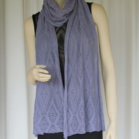 Diamonds in Lace Knitted Scarf, Stole, Wrap