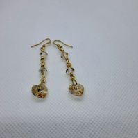 Swarovski golden shadow dangle earrings
