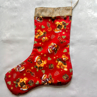 Red teddy bear Christmas stocking with bells