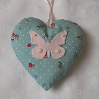Hanging heart, lavender filled, blue fabric, butterfly design, embroidered