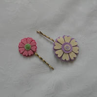 felt flowers, hair clips, pink, purple, cream, free shipping