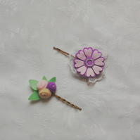 Felt flower, hair accessories, pink, green, purple hand stitched