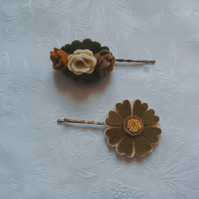 Felt flower, hair accessories, autumn colours, cream, green, brown