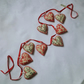 Christmas garland, red, cream, green, hearts, hand stitched