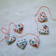 London bunting, red, white, blue, hand stitched, bedroom, cafe, heart, garland