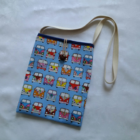 Shoulder bag, campervan, blue, holiday bag, kindle carrier, lined