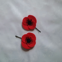 Poppies, hair accessories, felt flowers, red,  hand stitched, poppy appeal