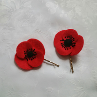 Hair accessories, poppies, felt flowers, red, free shipping, poppy appeal