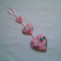 Pink hearts, flamingo, fabric, hanging hearts, girls gift, bedroom decor