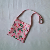 Girls bag, pink, flamingo lover, shoulder bag, cloth, fabric, cotton, girls gift