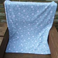 Handmade Pale Blue Snowflake Double Sided Anti Pill Polar Fleece Blanket Or Play