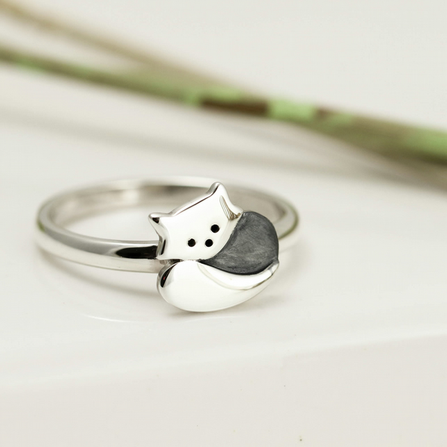 Sterling Silver Cute Red Panda Ring