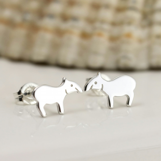 Tiny Silver Tapir Stud Earrings
