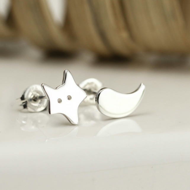 Fox & Tail Mismatched Stud Earrings in Sterling Silver