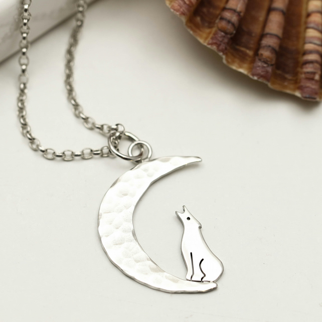 Sterling Silver Wolf & Moon Necklace