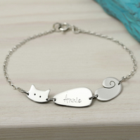 Sterling Silver Personalised Cat Bracelet