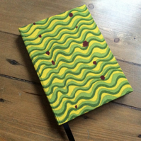 A6 Handmade Notebook with a Green Wavy Fabric