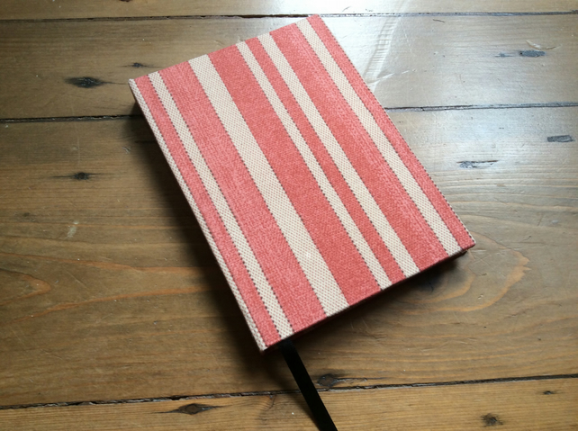 A6 Notebook Covered in a Striped Fabric