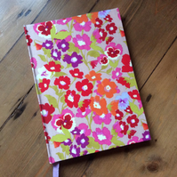 A5 Handmade Notebook Covered in a Pansy Fabric