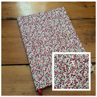 A5 Fabric Covered Notebook in a Tiny Red Floral Print